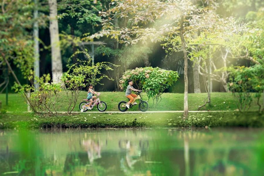 đường chạy bộ công viên hồ thiên nga ecopark tuyệt đẹp
