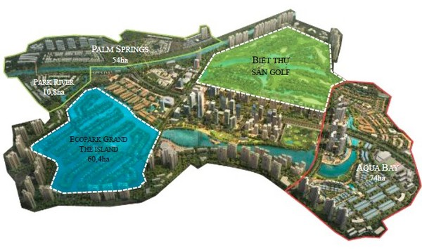 định vị vị trí phân khu biệt thự đồi golf ecopark trong khu đô thị ecopark 500ha