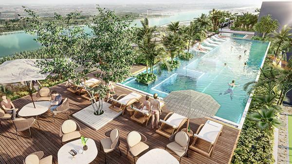 bể bơi riêng dành cho cư dân sky villas tại sol forest ecopark