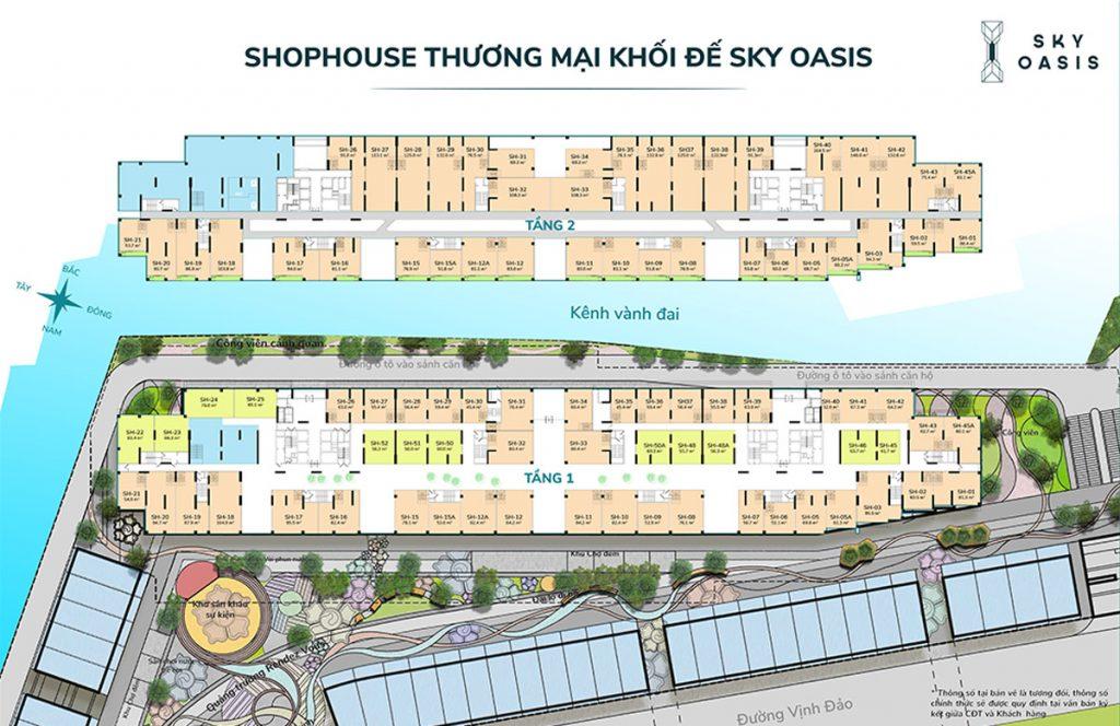 shophouse chân đế chung cư skyoasis